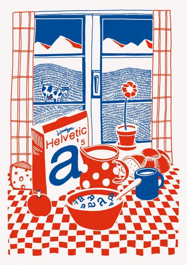Helvetica Illustrated Riso Print – Silvan Zurbriggen