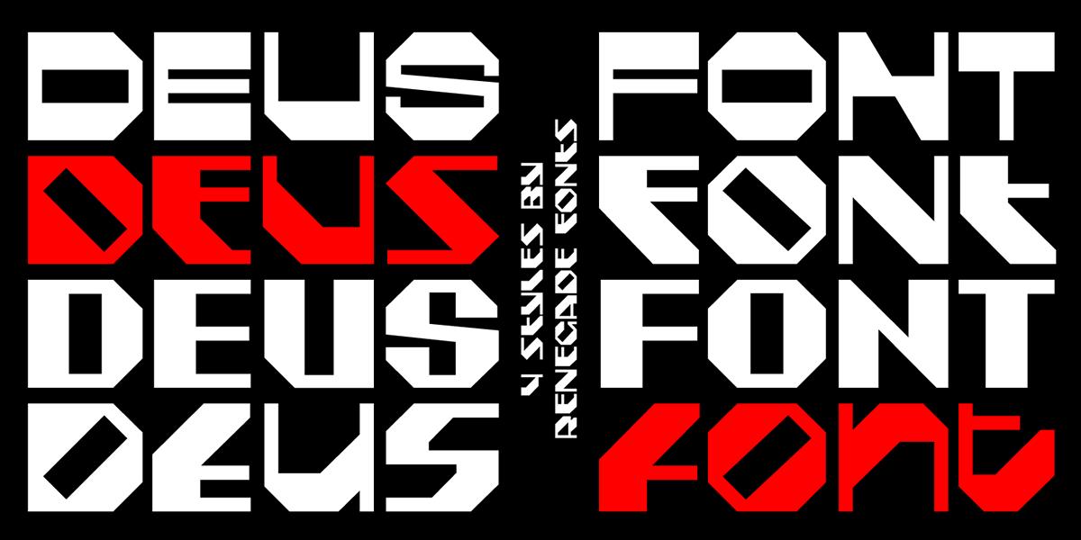 Deus Typeface by Jan Charvát - Font Renegade - slanted