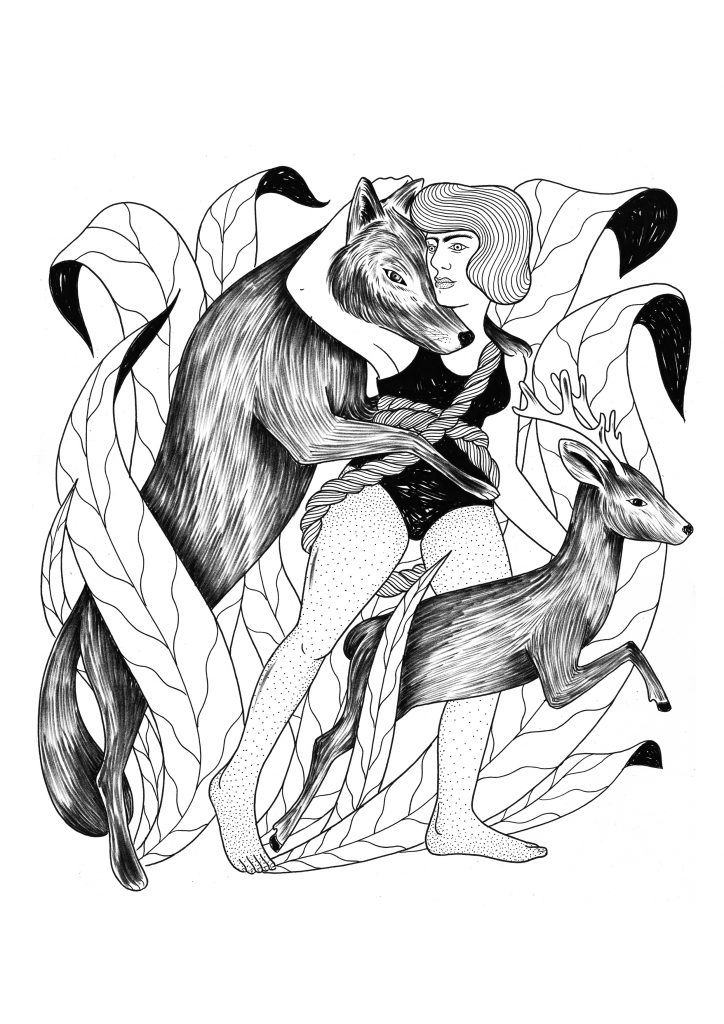 The wolf, the girl and the deer