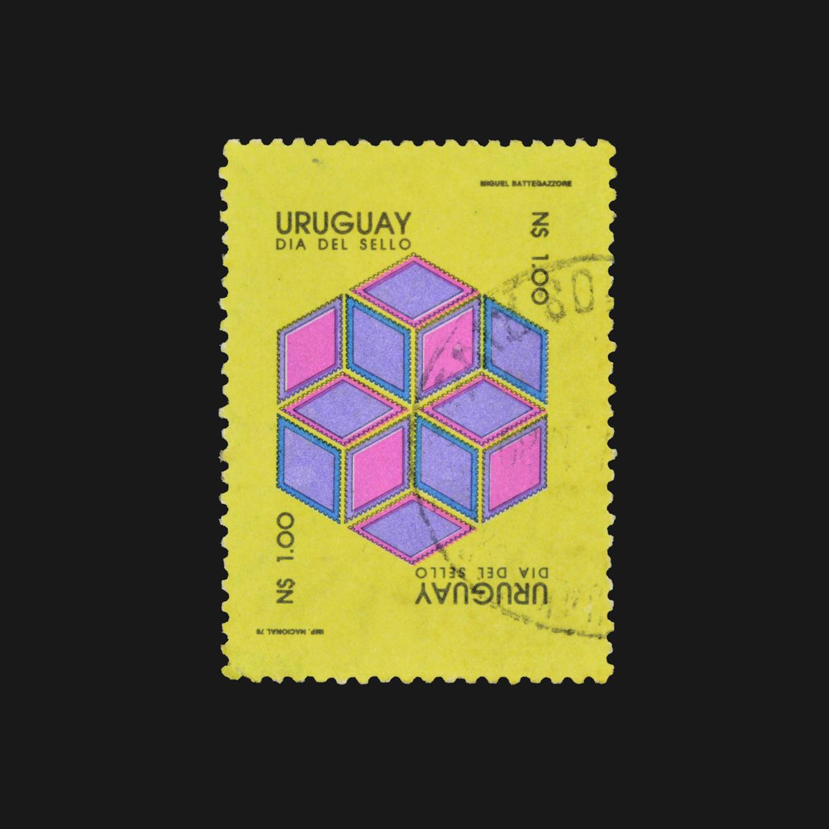 Slanted-1200px-Día-del-Sello-Uruguayo-✺-Uruguayan-Postal-Stamp-Day-✺-Miguel-Battegazzore-✺-N$1-✺-Circa-1978