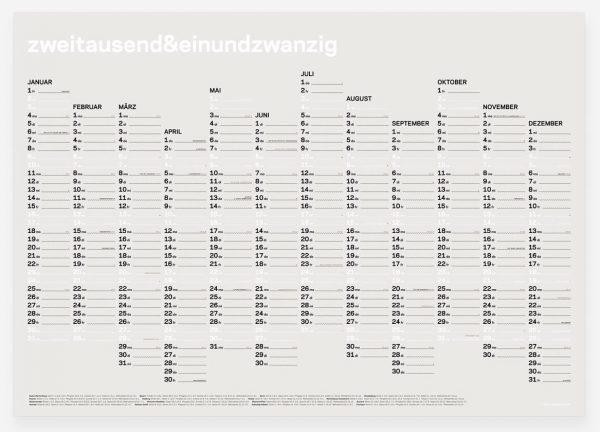 zweitausend&einundzwanzig - Wall Calendar 2021