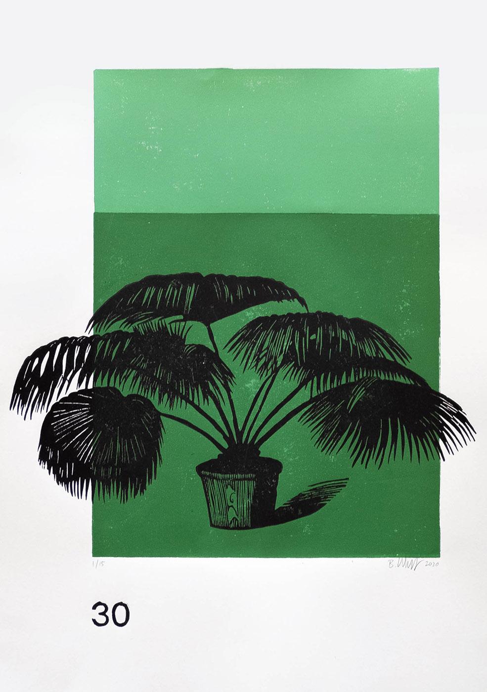 Lino Print (A3) | Livistona chinensis