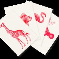 Roter Zoo | 4 Monochrome Risograph Postcards