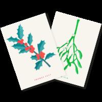 Mistelzweig und Stechpalme | Mistletoe and Holly | 2 Risograph Postcards