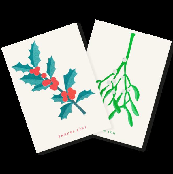 Mistelzweig und Stechpalme   Mistletoe and Holly   2 Risograph Postcards